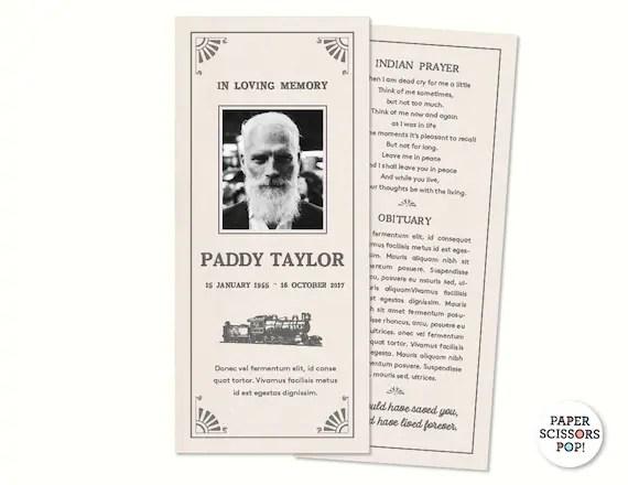 Masculine Funeral Card, Personalized Memorial Order of Service, Mens - memorial program