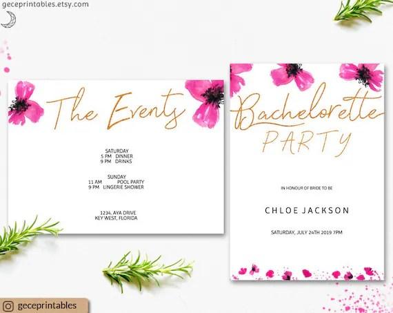 Bachelorette invite, editable invitation, Hens party invitation