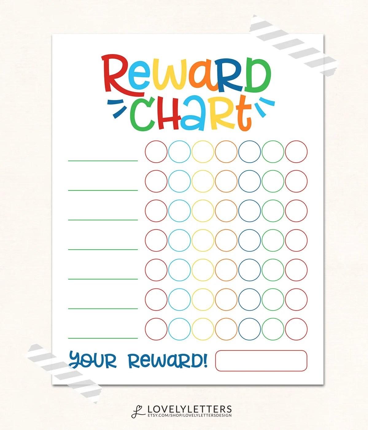 Reward Chart / DIGITAL / Kids Reward Chart / Progress Chart / Reward - child reward chart template