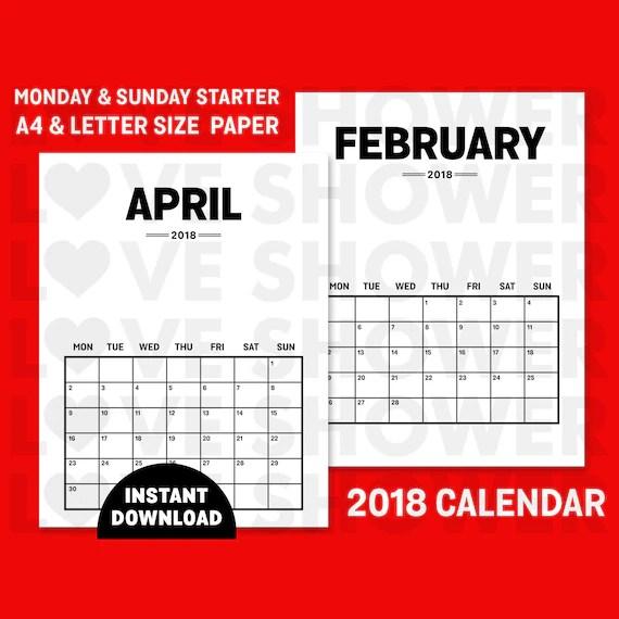 2018 Calendar Printable Files A4 + Letter Size Paper Monday