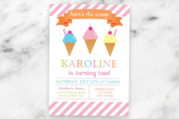 Ice Cream Party Invitation - Ice Cream Social Invitations - Ice
