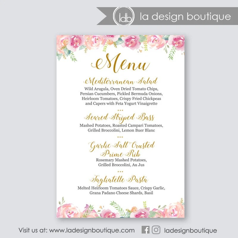 Wedding Menu, Wedding Menu Cards, Wedding Menu Printable, Menu Sign