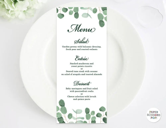 Eucalyptus Wedding Menu Template, Leafy Menu Template,Eucalyptus - wedding menu template