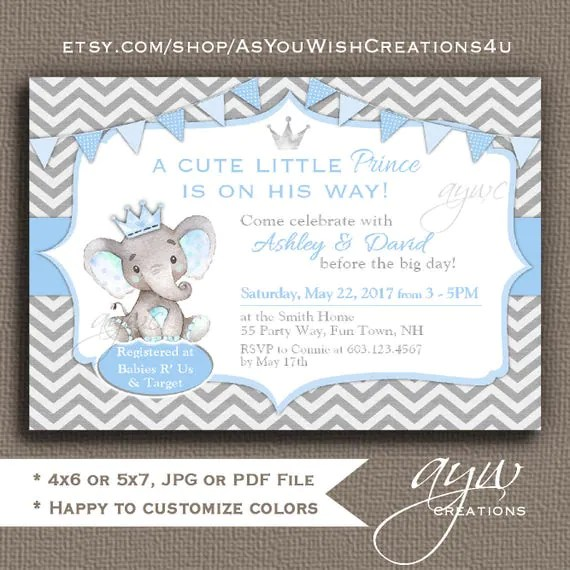 Elephant Baby Shower Invitations Boy Elephant Prince Baby Shower - Printable Baby Shower Invite