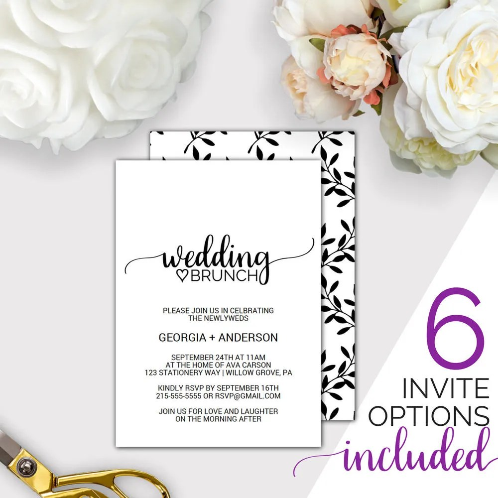 Post Wedding Brunch Invitation Template Rustic Printable Morning - lunch invitation template