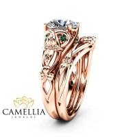 Moissanite Shamrock Celtic Knot Engagement Ring Set 14K Rose