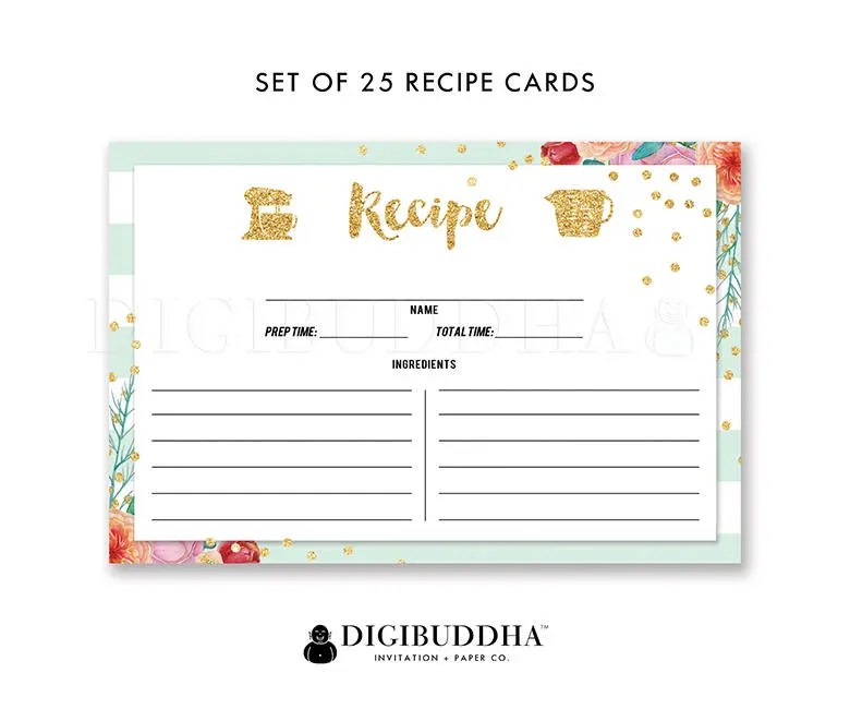 Striped Recipe Cards Recipe Card Set of 25 Recipe Sharing Cards - double recipe cards