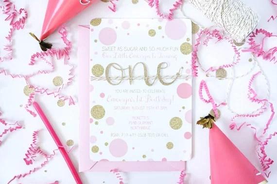 Pink and gold first birthday invitation, Baby Girl 1st Birthday