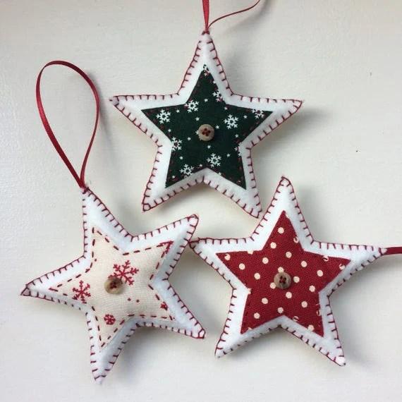 Set of three star-shaped felt christmas decorations Handmade - felt christmas decorations