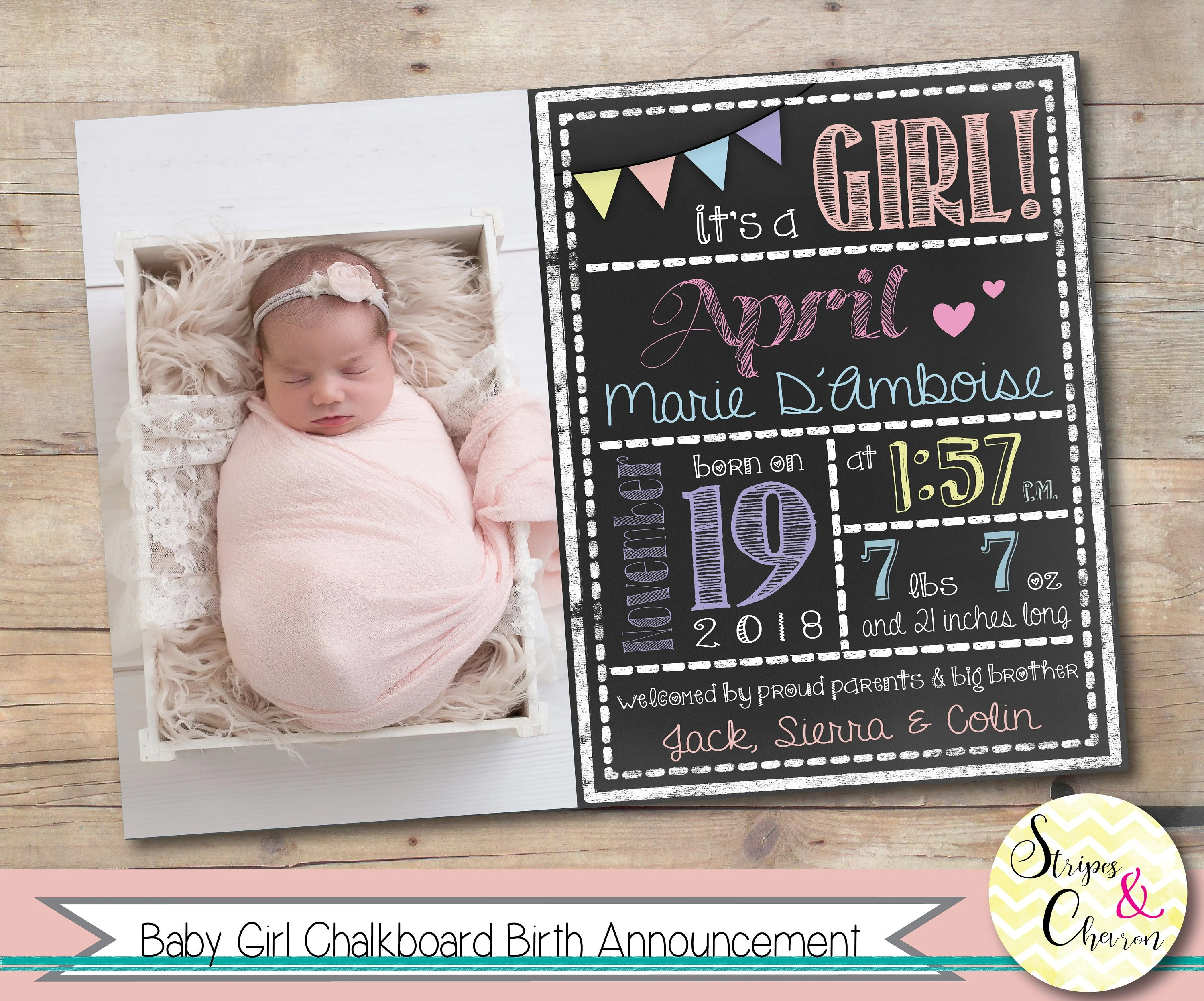 Birth Announcement Photo Card, Girl Baby Announcement, Chalkboard
