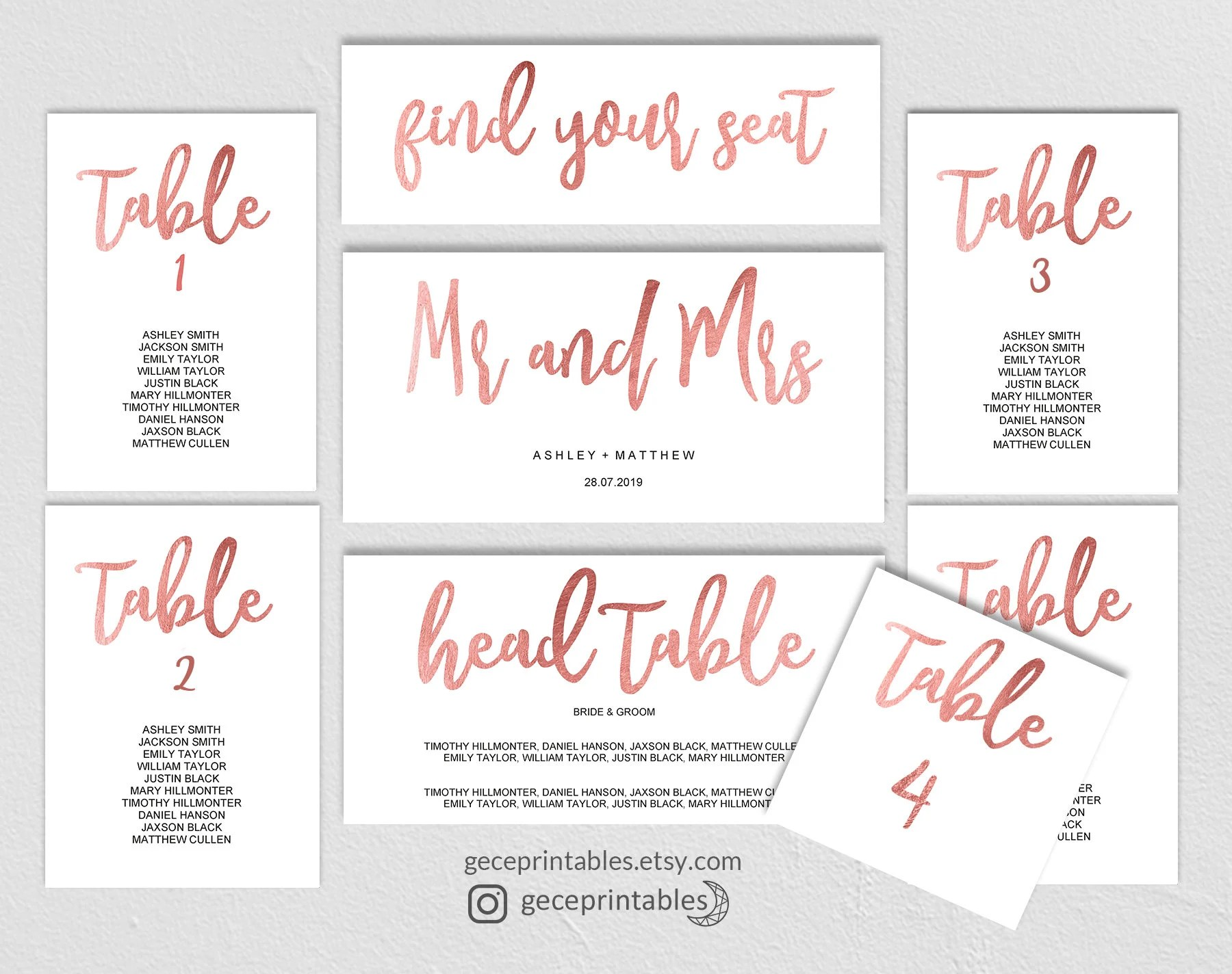 Rose Gold Seating Chart Template, Wedding Printable Seating Plan - printable seating charts