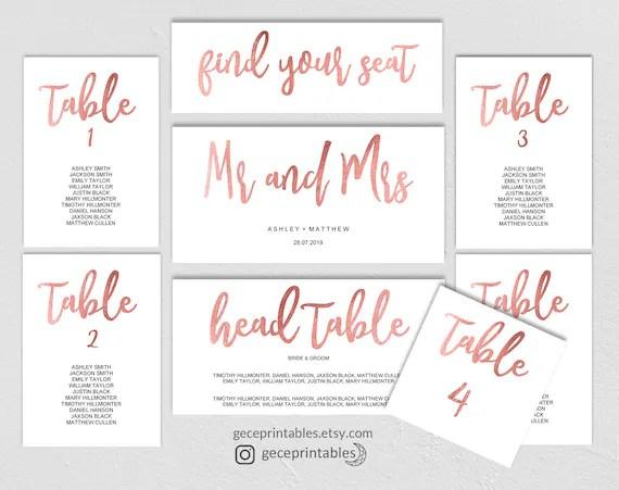 Rose Gold Seating Chart Template, Wedding Printable Seating Plan
