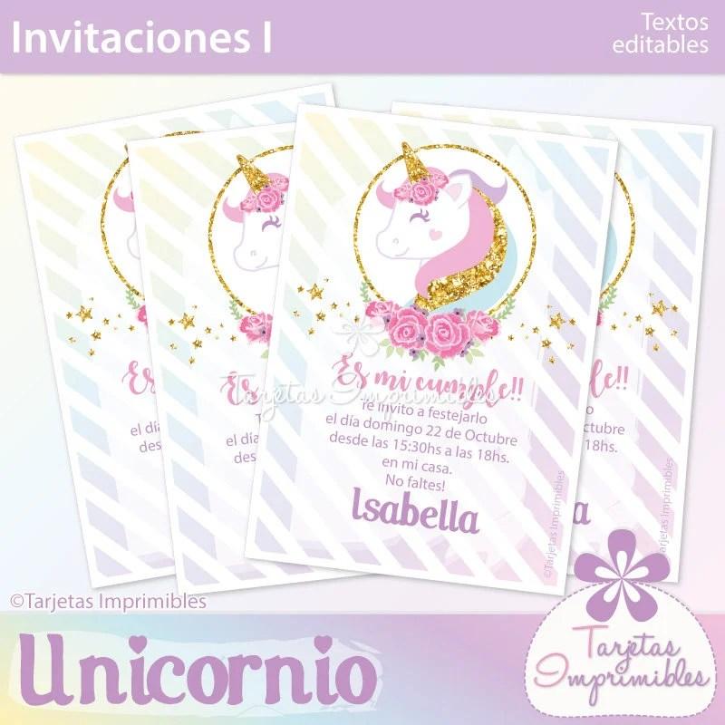 Unicornio tarjetas de invitación para imprimir Entrega inmediata - formato para invitacion