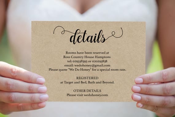 Wedding Details Card - Printable Details Card Template - Cards
