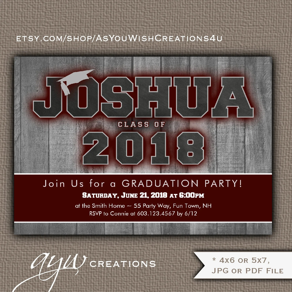 Maroon Graduation Invitation Boy Graduation Party Invitation on Wood