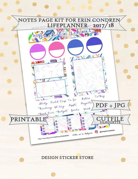 Back to school notes page kit for Erin Condren Lifeplanner/Printable