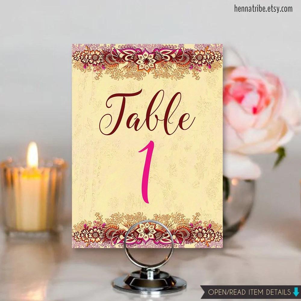 PRINTABLE Table Numbers, Indian Wedding DIY Table Numbers, 5x7 Table