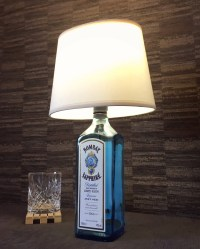 Bombay Sapphire Gin Bottle Lamp With Cream Lampshade Upcycled