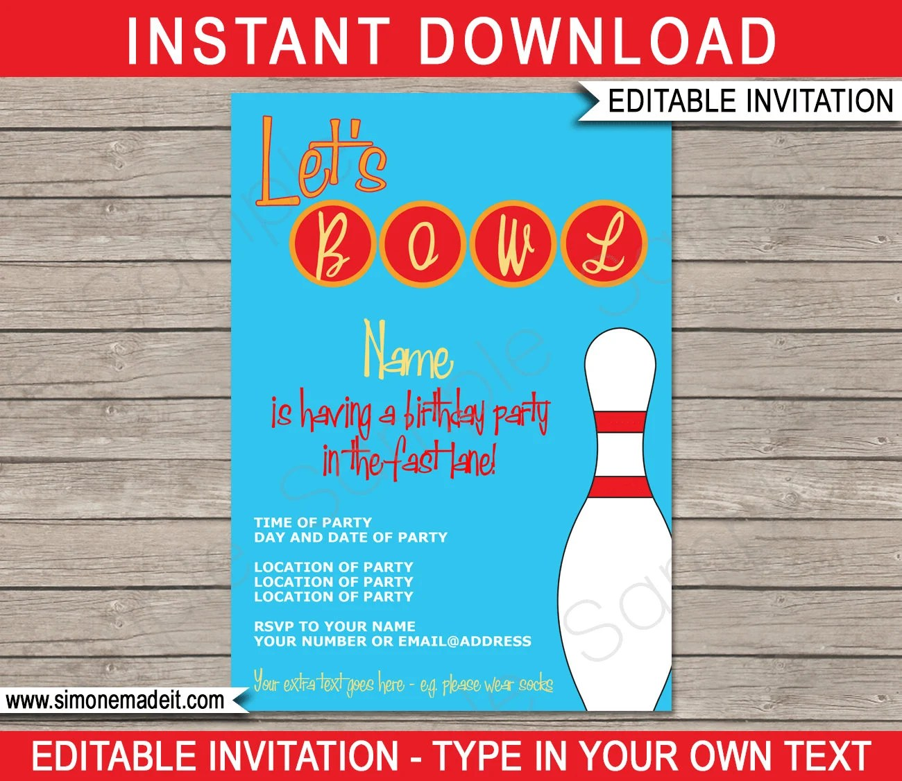 Bowling Invitation Template - Birthday Party - INSTANT DOWNLOAD with - bowling invitation template