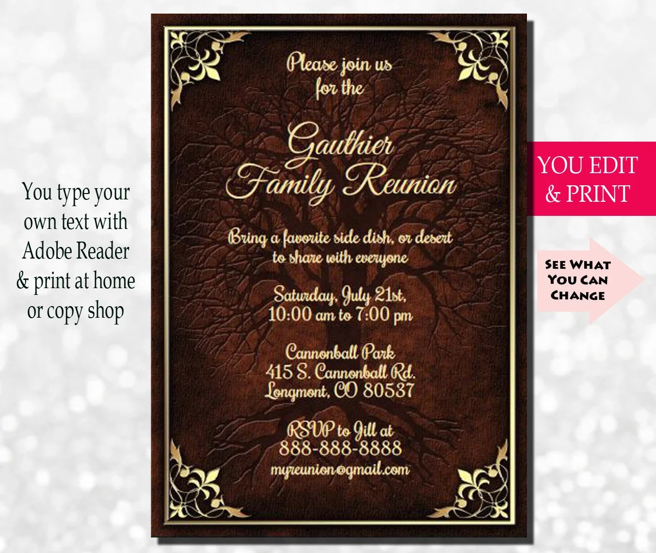 Family Reunion Invitation, Family Party Invitation, Family Tree - invitation for a get together