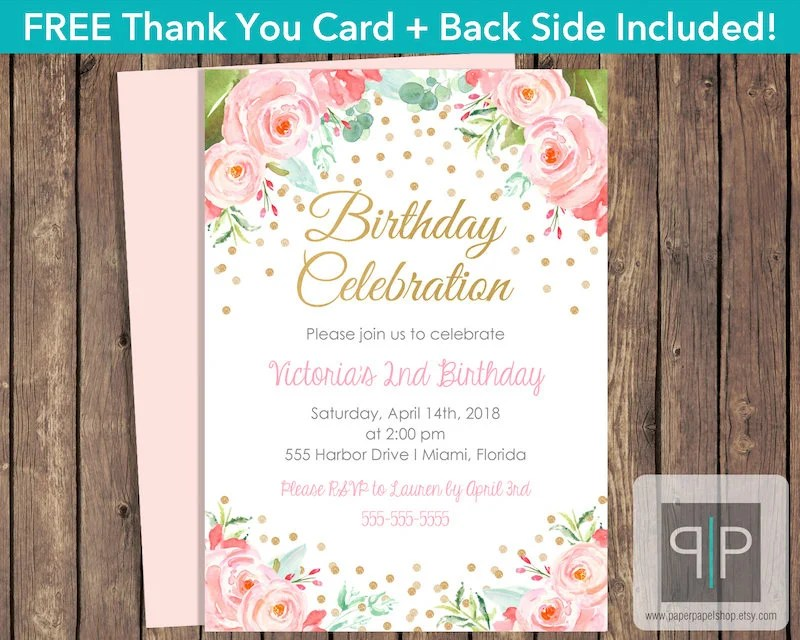 INSTANT DOWNLOAD Roses Birthday Invitation, Editable Pink Watercolor - printable girl birthday invitation cards