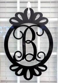 Front Door Wreath, Door Decorations, Monogram Door Hanger ...