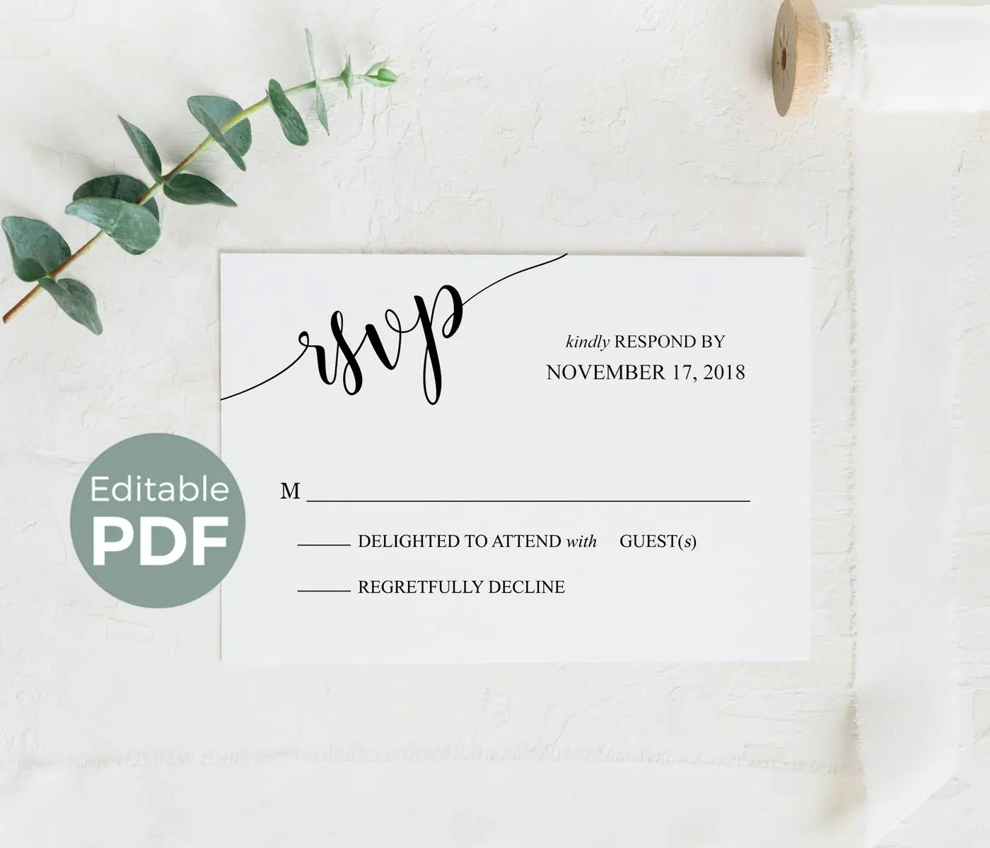 Wedding RSVP Cards Template, Printable Rsvp Cards Rustic, Editable