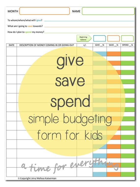 Give save spend budget sheet printable for kids instant - money receipt design