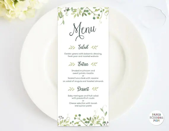 Wedding Menu Template, Leafy Menu Template, Menu Card, Green Dinner