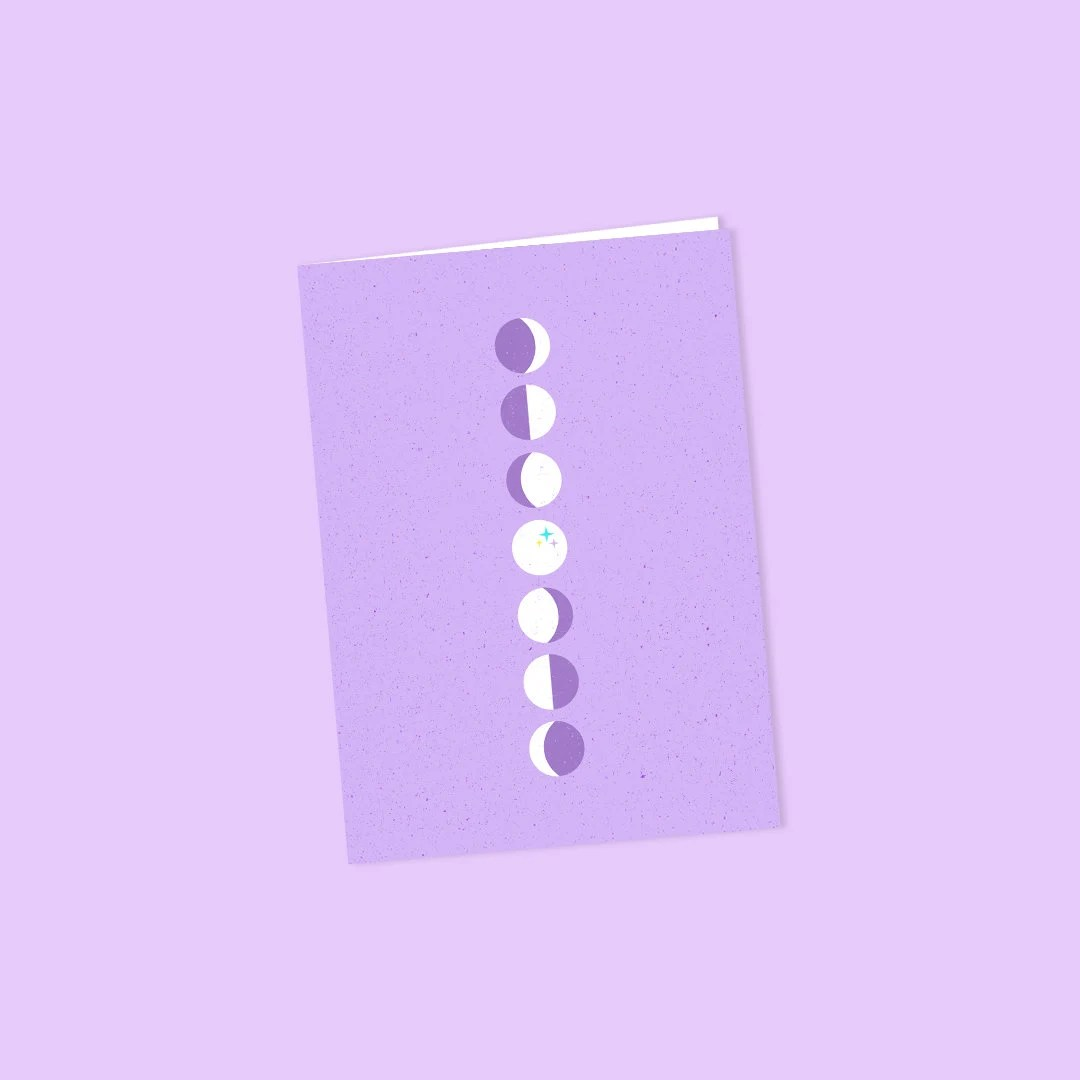 Moon Phases Purple Note Cards Set of 6 With Envelopes - purple note cards