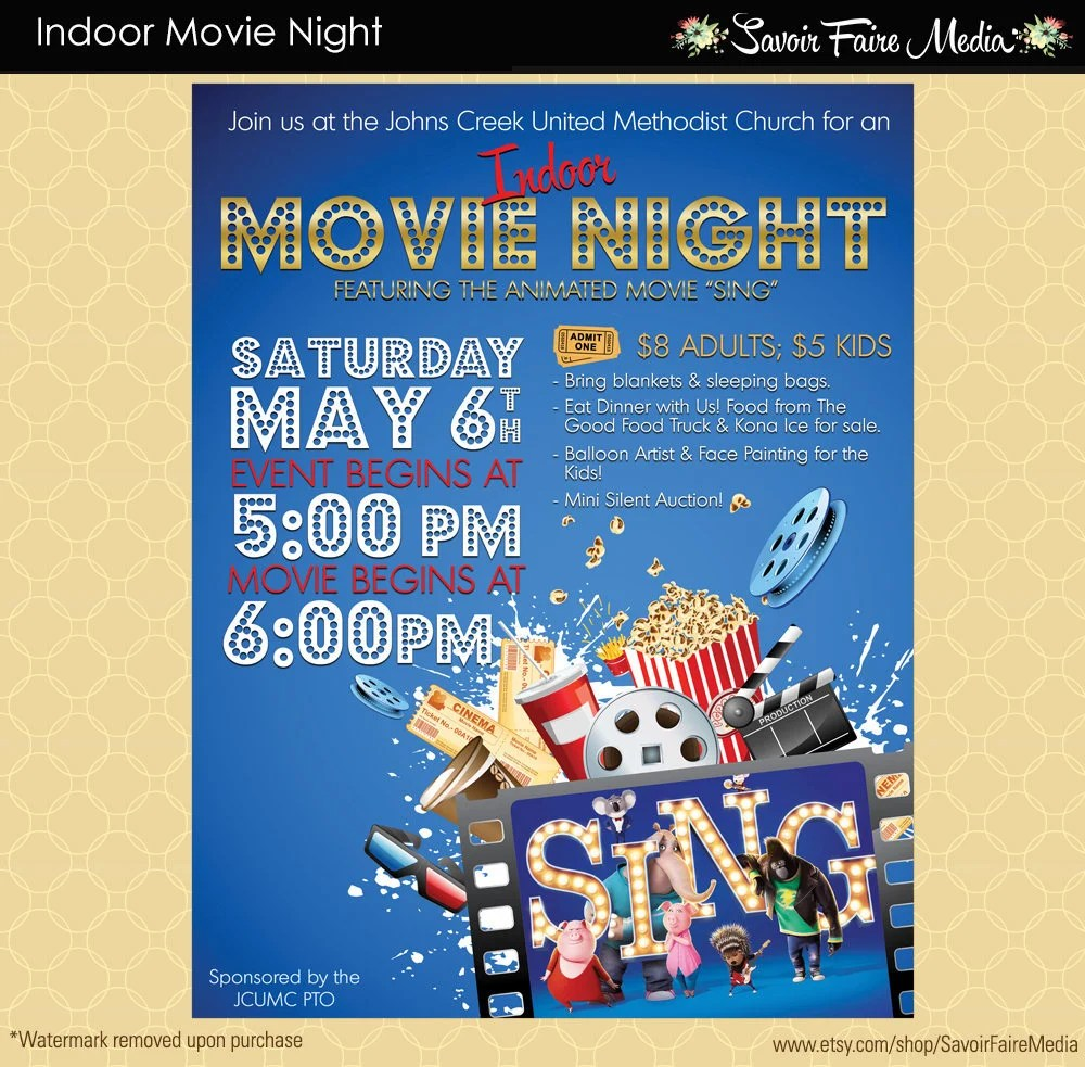 Indoor Movie Night Flyer / Movie on the Green Poster / Template