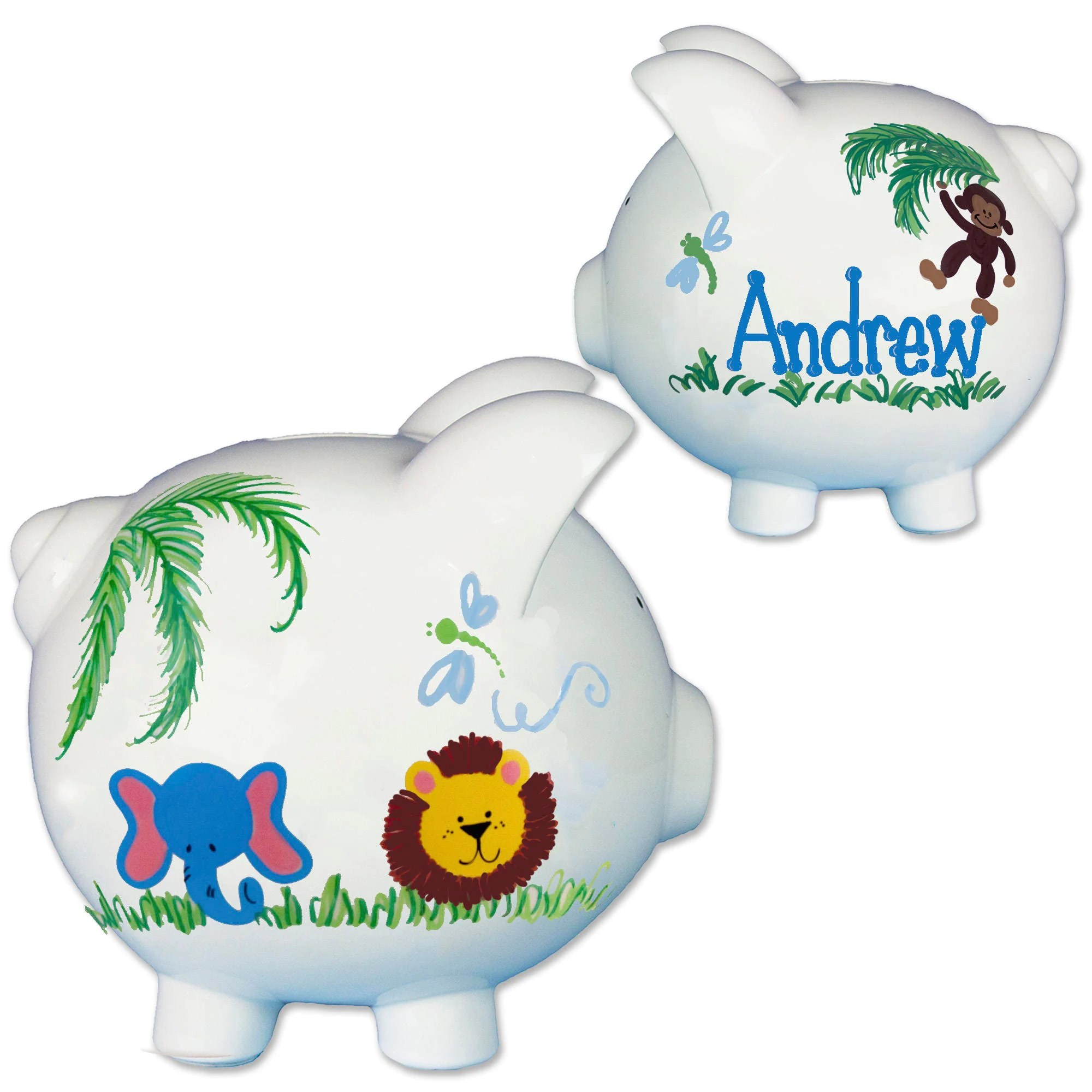 Animal Coin Banks Hand Painted Personalized Jungle Animal Piggy Bank Custom Baby