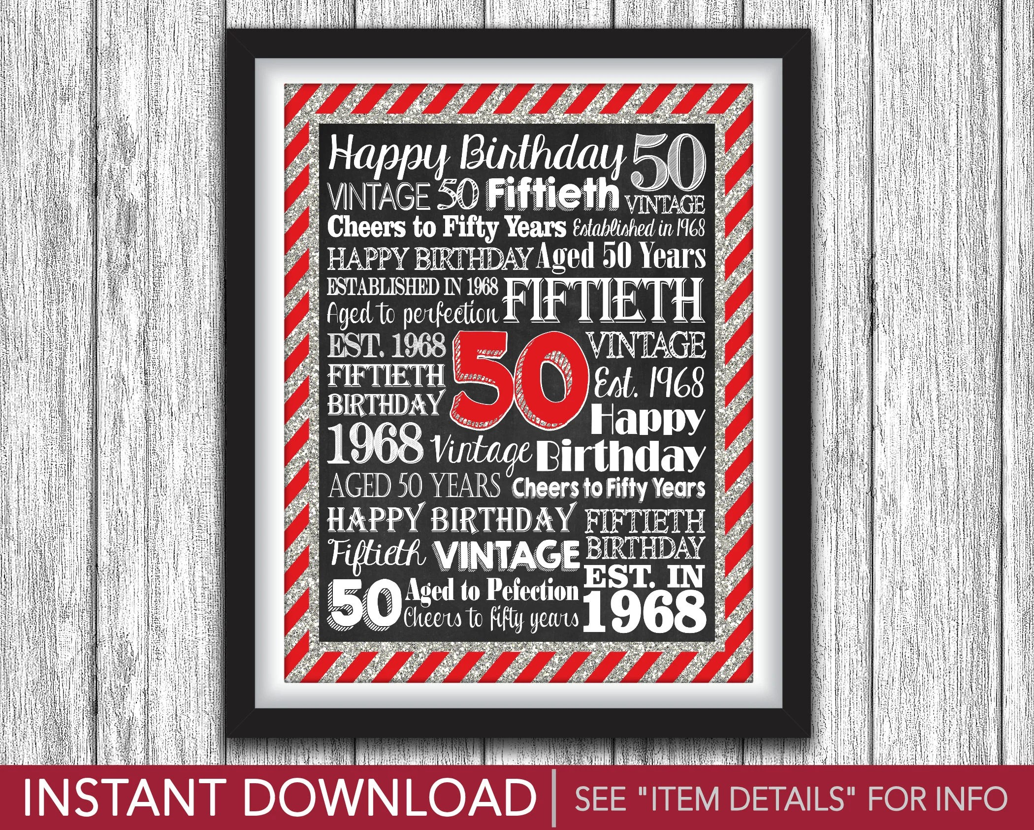 50th Birthday Party Sign - Printable Aged 50 Years Birthday Party