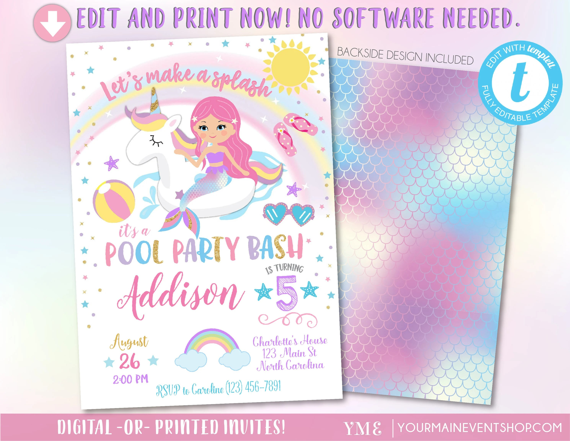Unicorn Mermaid Pool Party Invitation, Pool Party Birthday, Unicorn - birthday invitation software