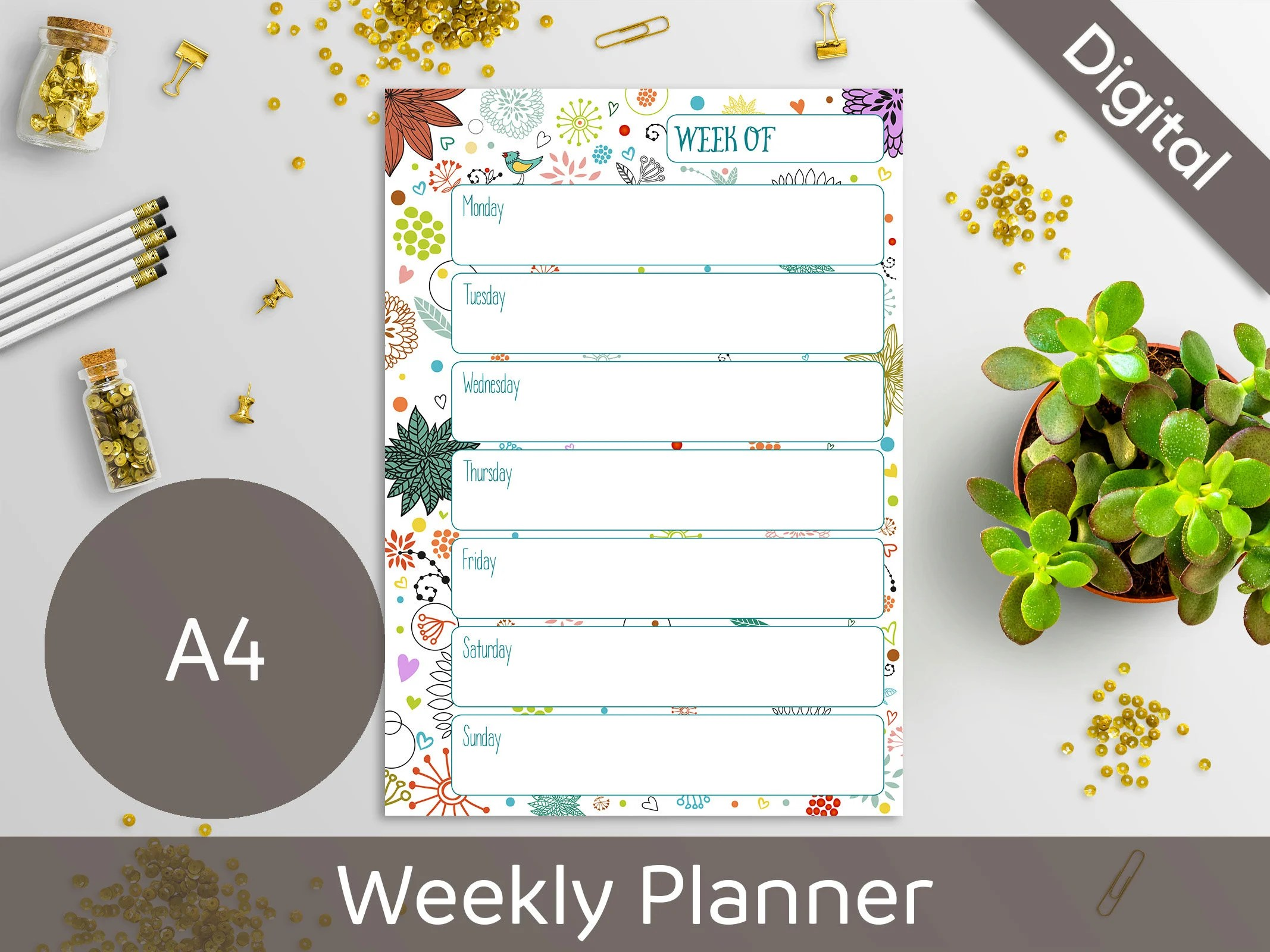 30 OFF coupon on A4 Weekly Planner Printable, Undated Weekly, 2