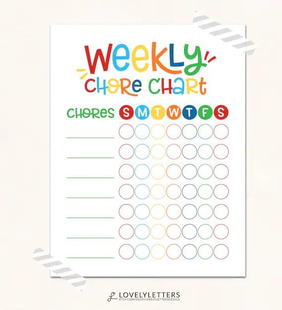 Kids Chore Chart Print / Weekly Chore Chart Printable / DIGITAL - daily chore