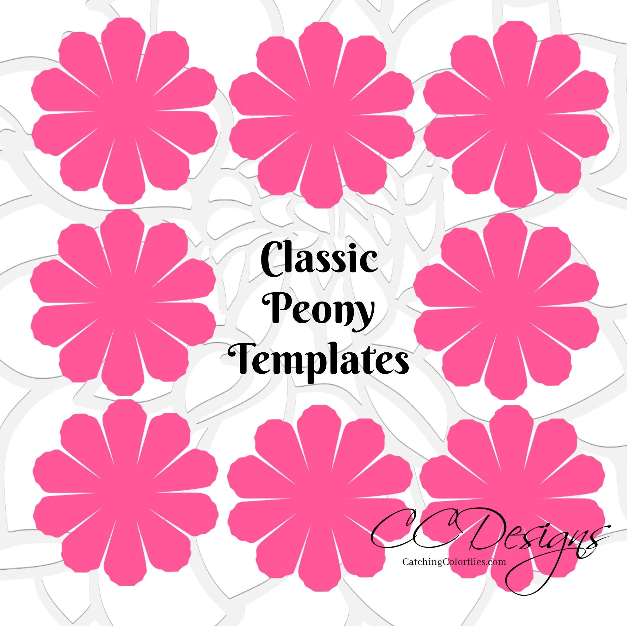 Paper flower printable templates- DIY Peony paper flowers- PDF - flower template