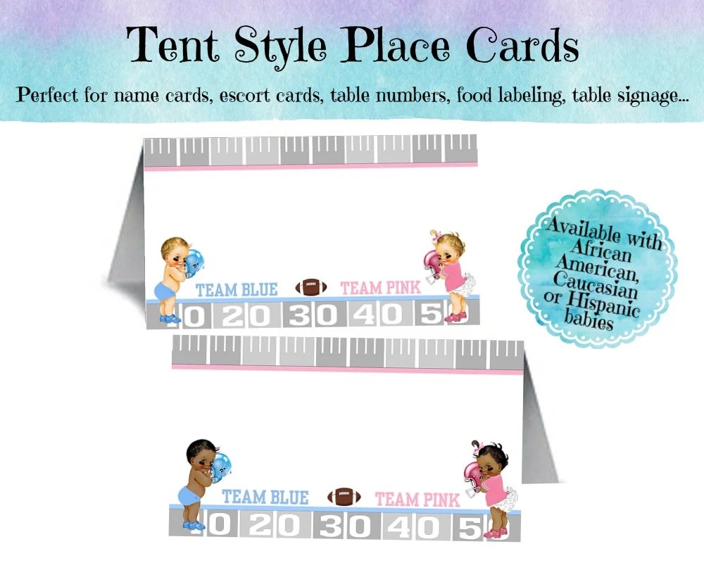 12 Tent Style Place Cards, Baby Gender Reveal Party, Baby Shower
