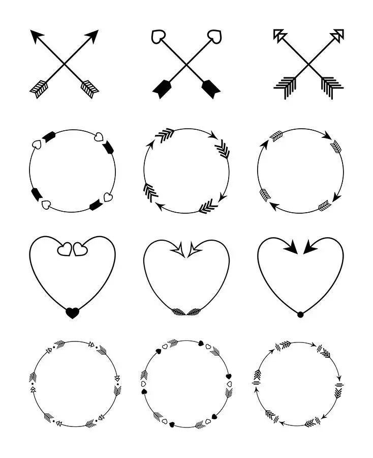 arrow svg clipart circle arrow vector heart arrow digital