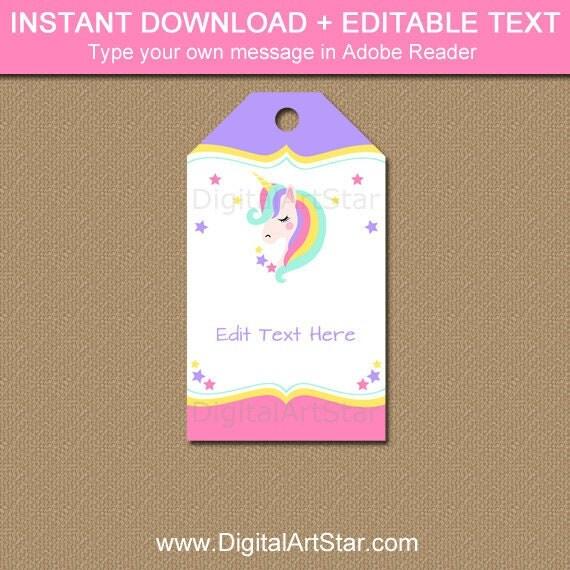 Unicorn Birthday Tags, Unicorn Favor Tags, Printable Tag, Hang Tags