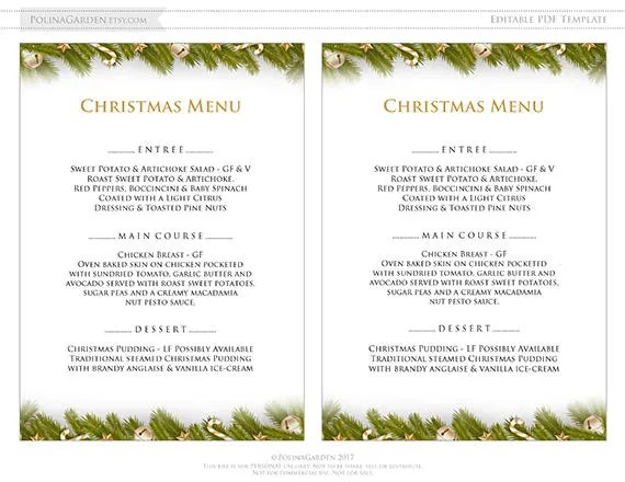 Holiday Winter Dinner Menu Template Printable Xmas Dinner Menu - dinner party menu template