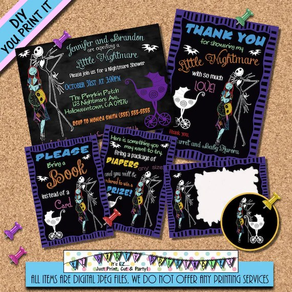 Nightmare before Christmas Bring a book insert or diaper - nightmare before christmas baby shower decorations