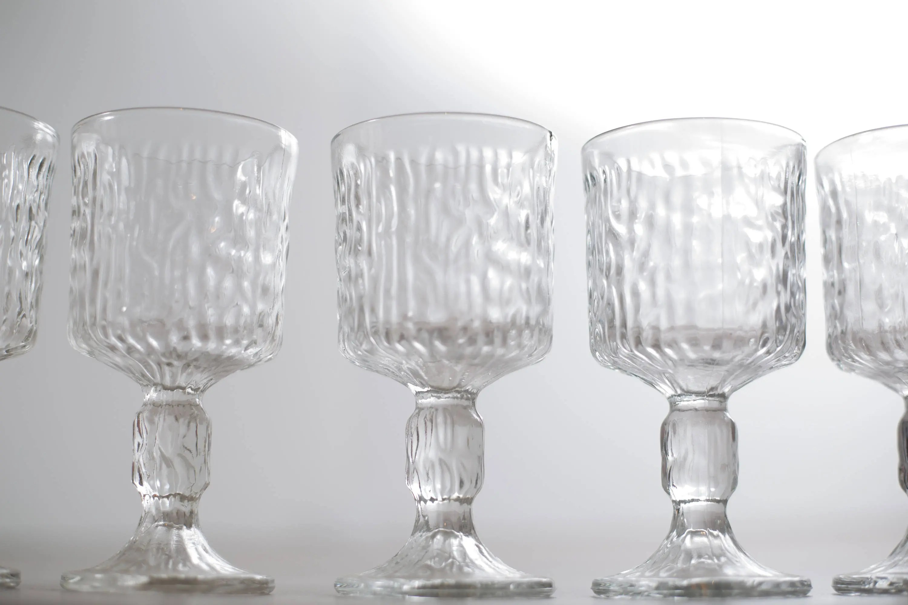 Goblet Style Wine Glasses Vintage Icicle Glass Goblet Textured Scandinavian