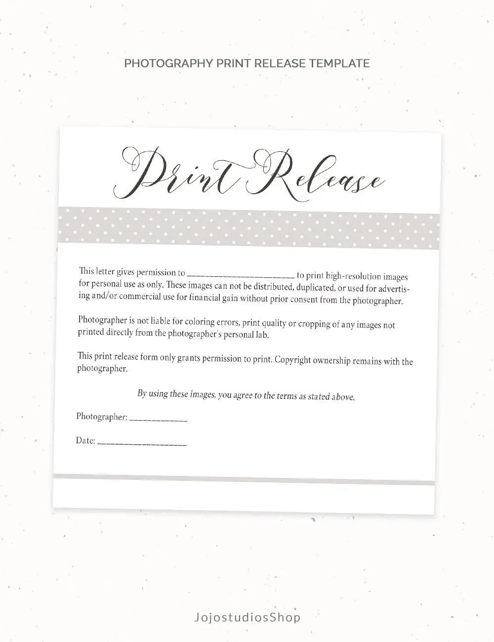 Photography Print Release Form Template Photography Template - financial release form