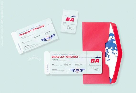 Modern Airplane Birthday Party Airline Ticket Invitation, Retro - airline ticket invitation