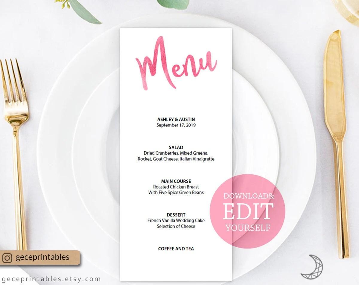 Pink Wedding Menu \u2014 Editable Menu Template, Reception Menu, Dinner