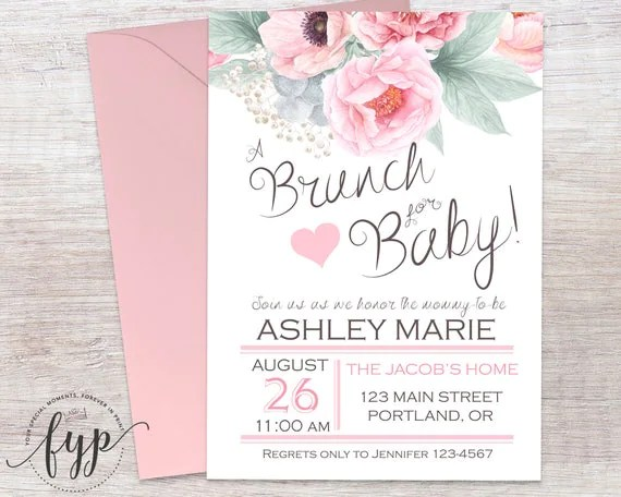 Floral Baby Shower Invitation Brunch For Baby Invitation - diaper invitation