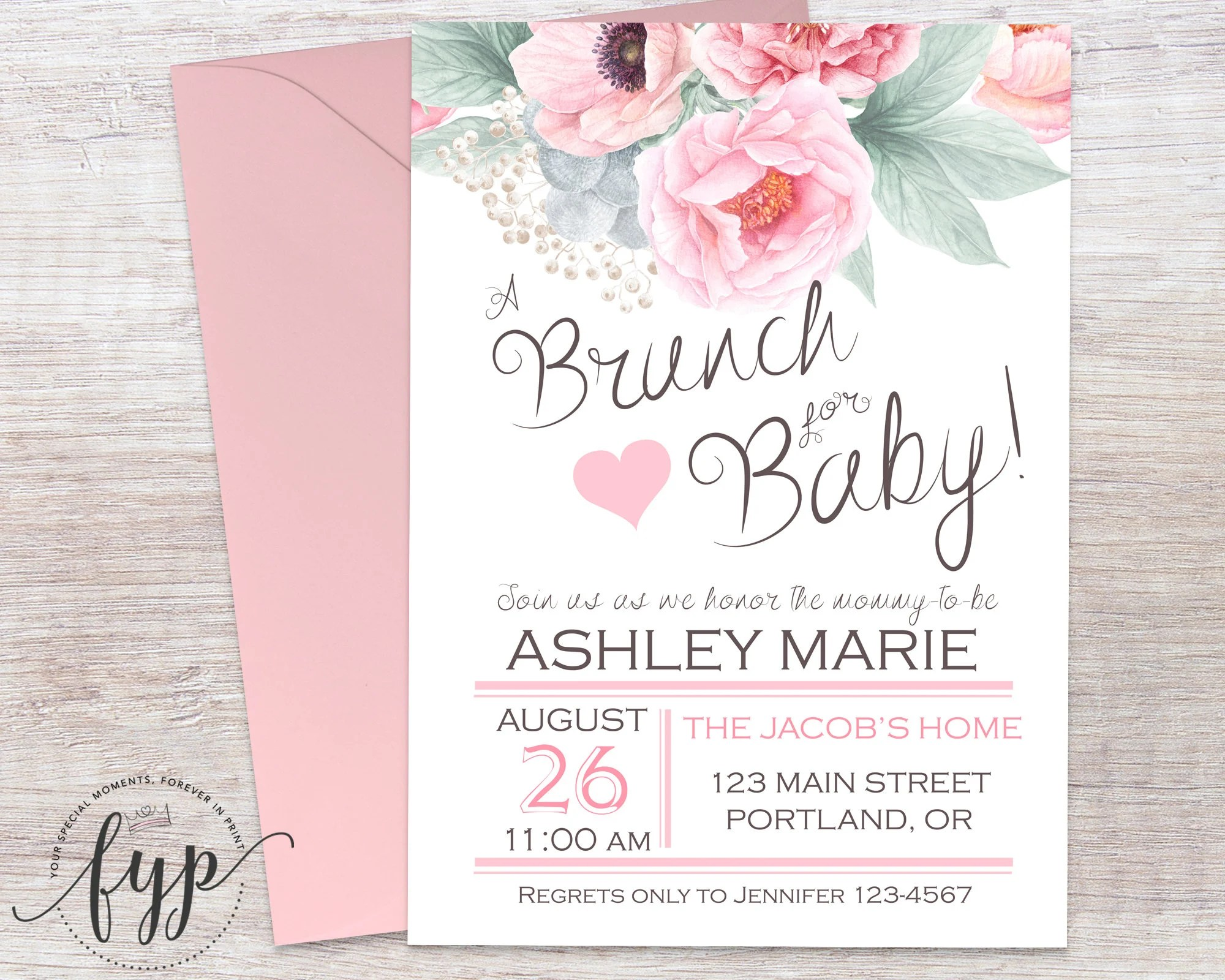 Floral Baby Shower Invitation Brunch For Baby Invitation   Engagement  Invitations Online Templates  Engagement Invitations Online Templates