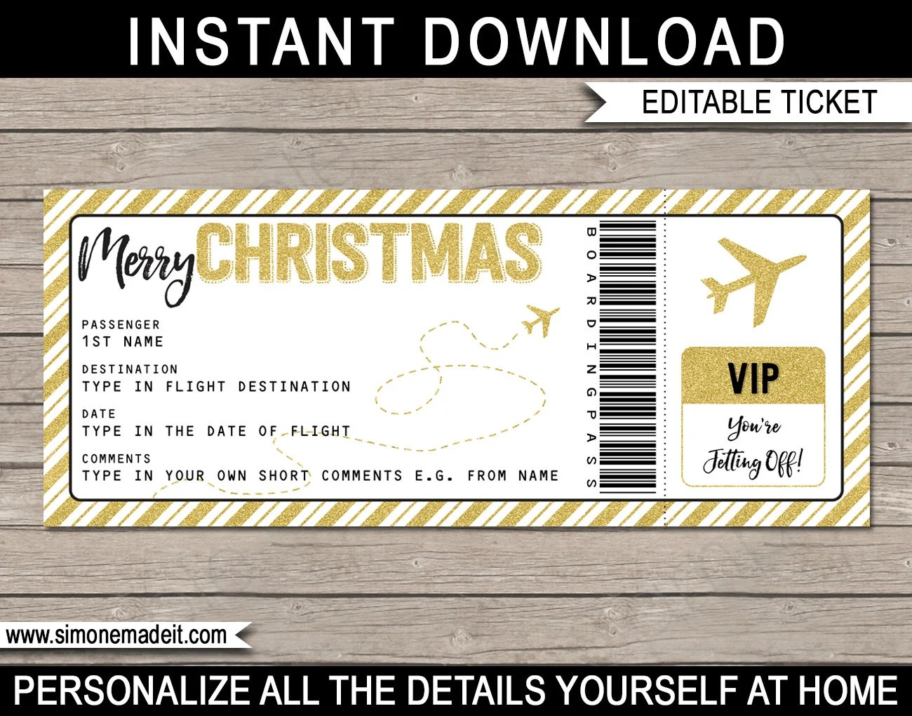 Christmas Gift Airplane Ticket - Printable Boarding Pass - Surprise - airplane ticket template