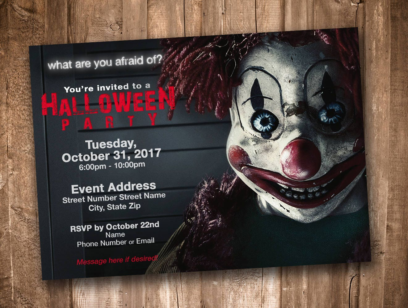 Scary Clown Adult Halloween Party Invitation Personalized